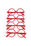 Stack of red glasses Royalty Free Stock Photo