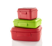 Stack of red and green lunchboxes Royalty Free Stock Photography
