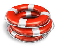 Stack of red lifesaver belts Royalty Free Stock Photography