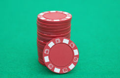 Stack of red poker chips Stock Images