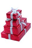 Stack of red presents Stock Photo