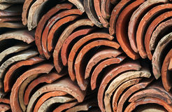 Stack of red roof tiles Royalty Free Stock Photos