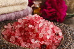 Stack of red sea salt Stock Photo
