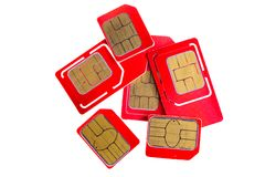 Stack of red sim card on white background Royalty Free Stock Image