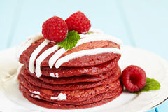 Stack of Red Velvet Pancakes Stock Image