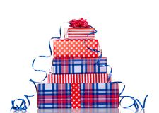 A stack of red white blue gifts Royalty Free Stock Image