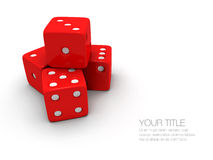Stack of red and white dice. A stack / pile of red and white dice on a white background Stock Photography