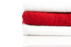 Stack of red and white towels Stock Images
