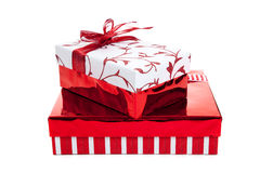 Stack of red and white wrapped Christmas presents Stock Images