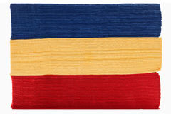Stack of red yellow and blue napkins Royalty Free Stock Images