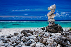 Stack of reef stones on a sky and lagoon Stock Images