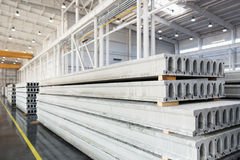 Stack of reinforced concrete slabs in a factory workshop Stock Photos