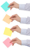 Stack of reminder in hands Royalty Free Stock Image