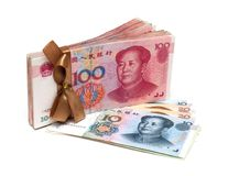 Stack of Renminbi Chinese Yuan Note Isolated On White background Royalty Free Stock Photos