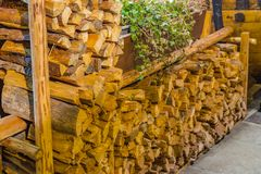 Timber logs. Stack of resinous timber logs Stock Photos
