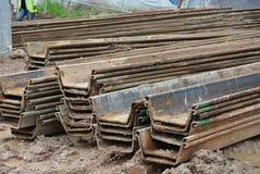 Stack of retaining wall steel sheet pile cofferdam Royalty Free Stock Photo