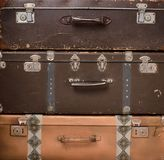 stack of retro suitcases stock image