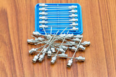 Stack of reuse iron needle No.18 G for drug needle Stock Image
