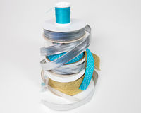 Stack of Ribbons and Thread royalty free stock photos