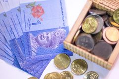 Stack of Ringgit Malaysia bank note stock photos
