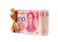 A stack of RMB Chinese Yuan Note isolated on white. Background Stock Image