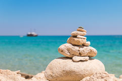 Stack of rocks at island near crete. stock image