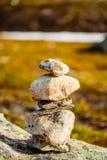 Stack Of Rocks On Norwegian Mountain, Norway Stock Photo