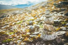 Stack Of Rocks On Norwegian Mountain, Norway Royalty Free Stock Images