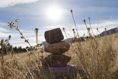 Stack of rocks under the sun. It was discovered within the area limits of Flatirons Vista Trailhead, Boulder CO Royalty Free Stock Photo