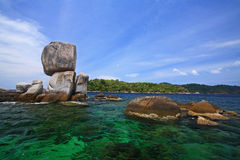 Stack rocky island against crystal Andaman sea Stock Photography