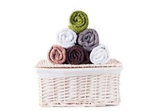 Stack roll bath towels colorful textile objects Royalty Free Stock Image