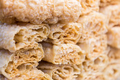 Stack of roll up fried tofu skins or bean curd Royalty Free Stock Photography