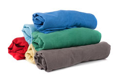 Stack of rolled clothes Royalty Free Stock Images