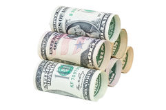 Stack of rolled dollar banknotes Royalty Free Stock Image