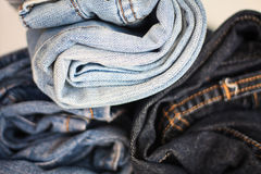 Stack rolled jeans Royalty Free Stock Photos