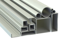 Stack of Rolled Metal Products Stock Photo