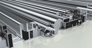 Stack of rolled metal products, loop animation. 3D rendering stock footage