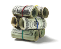 Stack of Rolled Up US Dollar Bills Stock Image