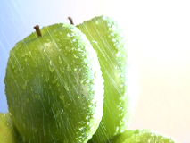 Stack of rotating green apples stock video footage