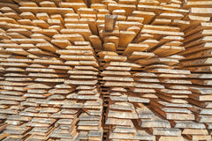Stack of rough wooden boards in lumberyard Stock Photos