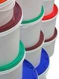 Stack of round colorful boxes isolated, Royalty Free Stock Image