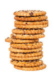 Stack of round cookies with sesame and flax seeds Stock Photography