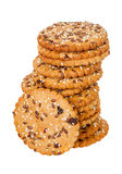 Stack of round cookies with sesame and flax seeds Stock Image