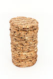 Stack of round crispbread Stock Photos