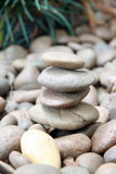 Stack of round smooth sand stone. Stock Images