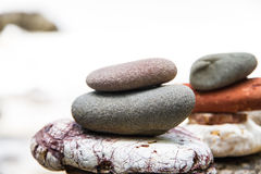 Stack of round smooth stones Stock Image