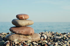 Stack of round smooth stones Stock Images