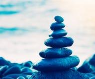 Stack of Round Smooth Zen Rocks Stock Photo