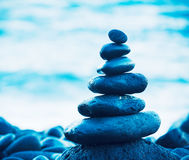 Stack of Round Smooth Zen Rocks Royalty Free Stock Image