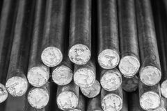 Stack of round steel bar. Stack of round steel bar - iron metal rail lines material for industry construction Stock Image